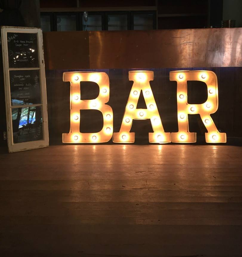 Bar Light Box Letters By The Oaktree Adelaide Hills